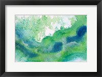 Framed Green Waves Watercolor Abstract Splash 1