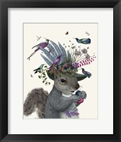 Framed Squirrel Birdkeeper and Blue Acorns