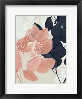 Framed Indigo & Blush Leaves I