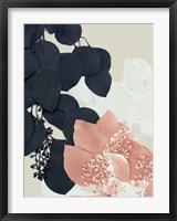 Framed Indigo & Blush Leaves III