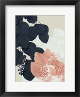Framed Indigo & Blush Leaves III