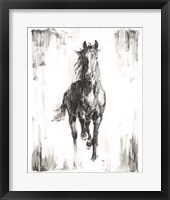 Framed Rustic Black Stallion I