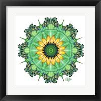 Framed Sunflower Bloom Butterfly Mandala