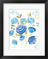Framed Cerulean Blooms I