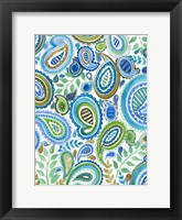 Framed Blue & Green Paisley I