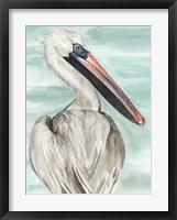 Framed Turquoise Pelican I