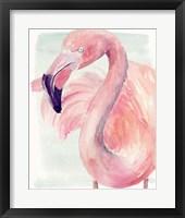 Framed Pastel Flamingo I