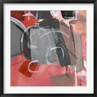 Framed Red & Gray Abstract II