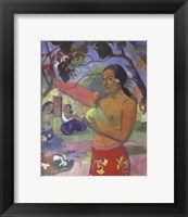 Framed Woman Holding a Fruit, Where Are You Going
