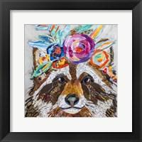 Framed Raccoon Floral