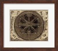 Framed Sepia Planetary Chart
