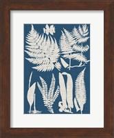Framed Linen & Blue Ferns I