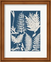 Framed Linen & Blue Ferns II