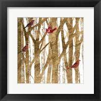 Framed Red Bird Christmas I