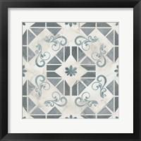 Framed Teal Tile Collection VI