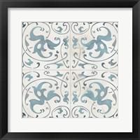 Framed Teal Tile Collection VIII