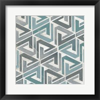 Teal Tile Collection II Framed Print