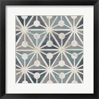 Framed Teal Tile Collection IX