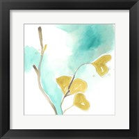 Framed Teal and Ochre Ginko I