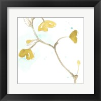 Framed Teal and Ochre Ginko II