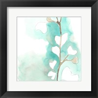 Framed Teal and Ochre Ginko III