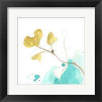 Framed Teal and Ochre Ginko V