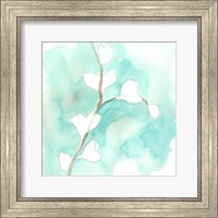 Framed Teal and Ochre Ginko VII