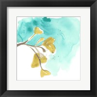 Framed Teal and Ochre Ginko VIII