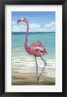 Framed Beach Walker Flamingo II