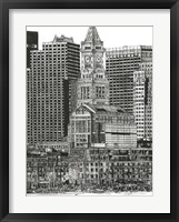 Framed B&W Us Cityscape-Boston