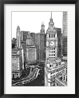 Framed B&W Us Cityscape-Chicago