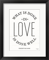 Framed What is Done in Love
