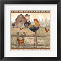 Framed Rustic Farm Rooster