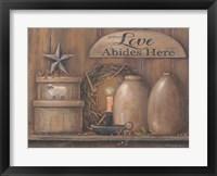 Framed Love Abides Here Shelf