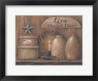 Framed Love Abides Here Shelf