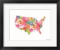 Framed Floral USA Map