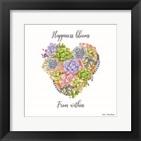Framed Happiness Blooms Succulents