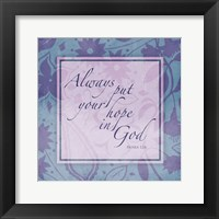 Framed Purple Blue Religious Garden