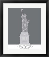 Framed New York Statue of Liberty Monochrome