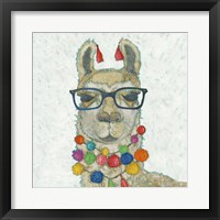 Llama Love with Glasses I Framed Print