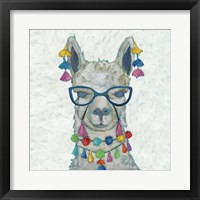 Framed Llama Love with Glasses II