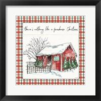 Framed Holiday on the Farm IV Plaid
