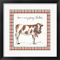 Framed Holiday on the Farm III Plaid