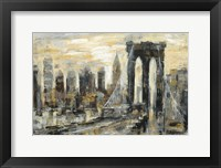 Framed Brooklyn Bridge Gray and Gold