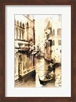 Framed Gondoliers in Venice Vintage