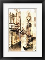 Framed Gondoliers in Venice Vintage