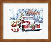 Framed Red Truck Christmas