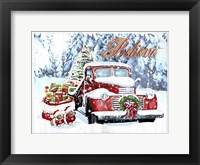Framed Red Truck Christmas