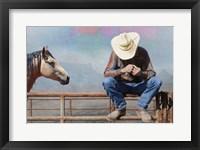 Framed Cowboy On Fence