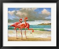Framed Beach Scene Flamingos